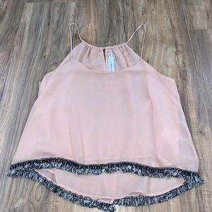 Tbags Los Angeles sheer blush pink top